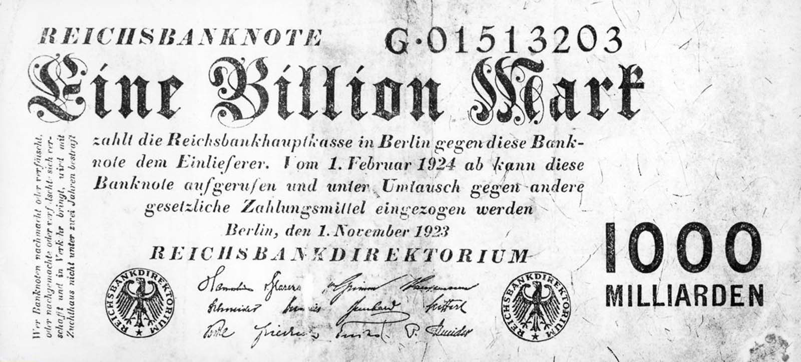 A one trillion mark note. 1923.