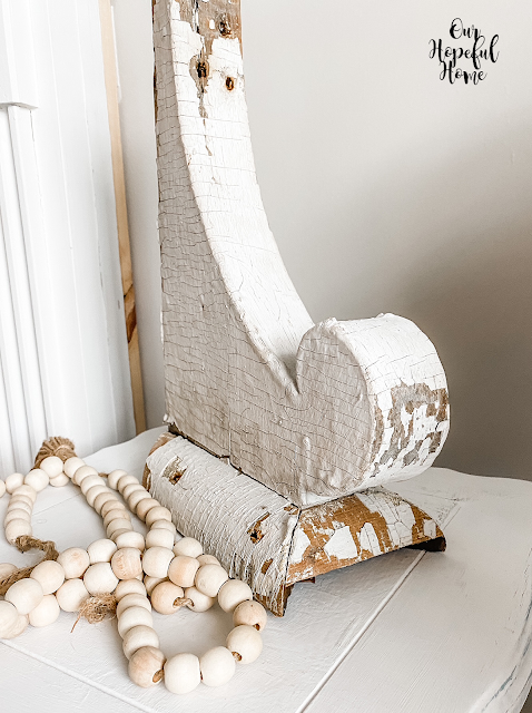 white chipping paint wood corbel beads