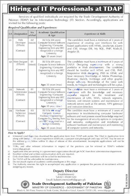 Trade Development Authority of Pakistan (TDAP) Jobs 2021