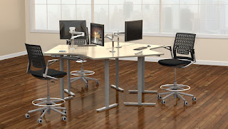 Multi User Sit To Stand Desk at OfficeFurnitureDeals.com