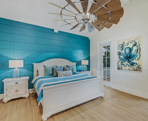 Bright Blue Painted Shiplap Accent Wall Bedroom