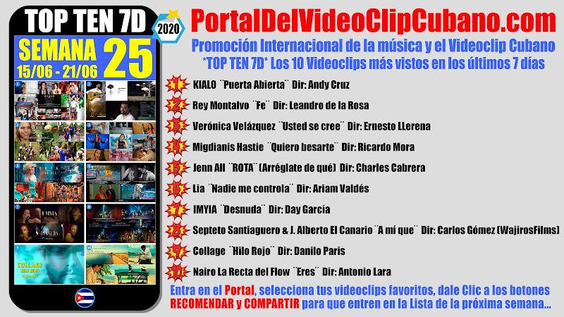 Artistas ganadores del * TOP TEN 7D * con los 10 Videoclips más vistos en la semana 25 (15/06 a 21/06 de 2020) en el Portal Del Vídeo Clip Cubano