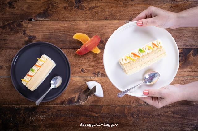 Mattonella esotica: Pasta biscotto, cremoso e namelaka Inspiration Passion di Valrhona
