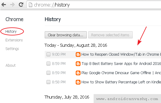 view browsing history chrome