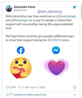 Facebook care reaction announcement on twitter
