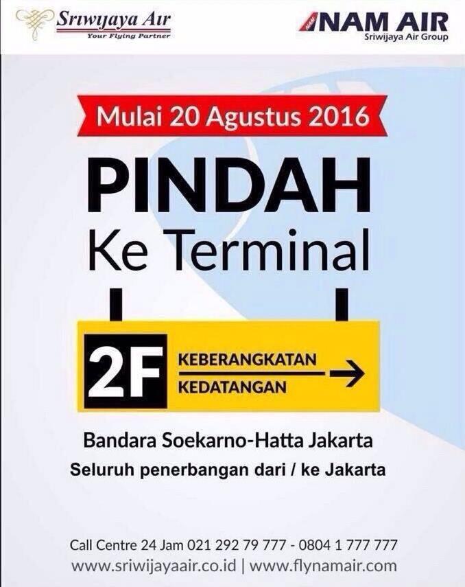 Sriwijaya Air Pindah ke Terminal 2F