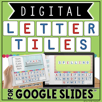 Digital Uppercase Letter Tiles in Google Slides
