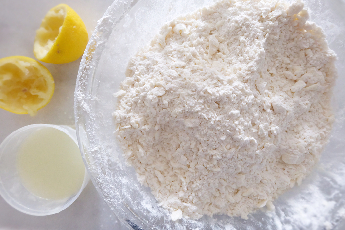 coarse crumbles of butter cut into flour