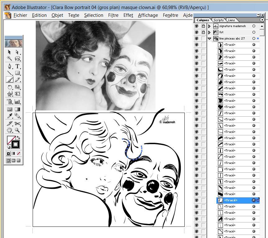 Comicstar Clara Bow Portrait Dessin 04 Masque Clown Suite