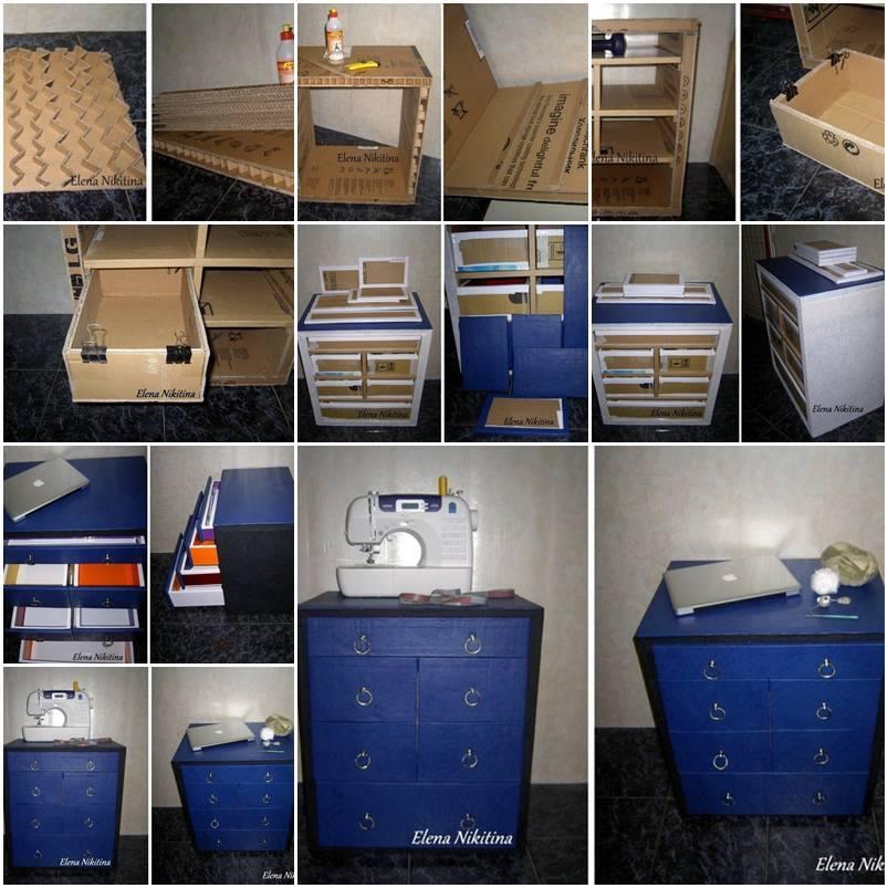 Muebles hechos con cart n construccion y manualidades for Manualidades de muebles