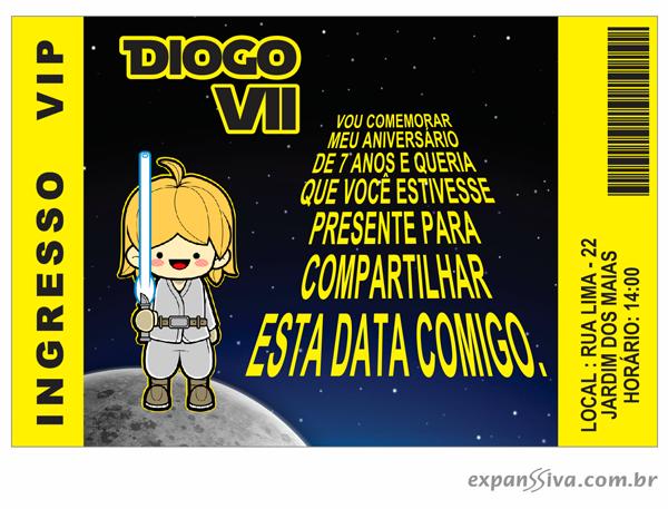 Convites de Aniversário do Star Wars 2