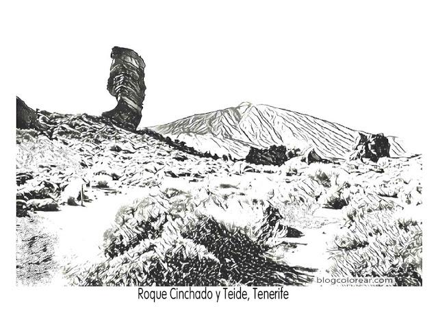 colorear Roque de Agando, La Gomera