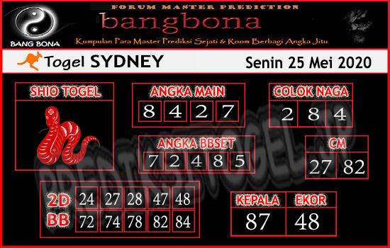 Prediksi Togel Sydney Senin 25 Mei 2020 - Bang Bona
