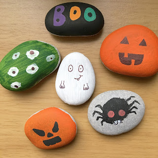 Halloween rock painting