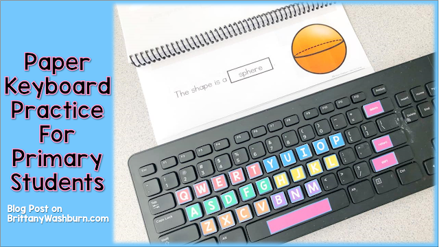 Students practice spelling and typing words with story mats and printable keyboards (or you can use real keyboards).