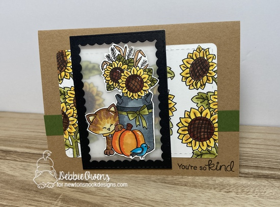 You're so kind by Debbie features Paw-tumn Newton, Sunflower Days, Framework, and Frames & Flags by Newton's Nook Designs; #inkypaws, #newtonsnook, #cardmaking, #catcards
