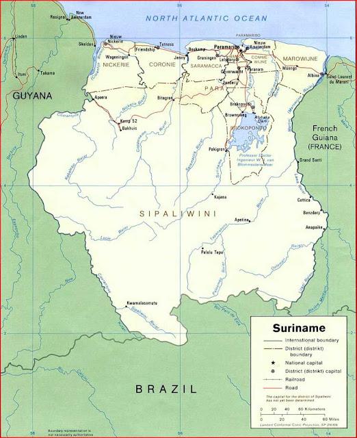 Gambar Peta politik Suriname