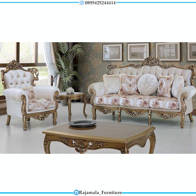 Harga Sofa Mewah Set Ruang Tamu Elegant Luxurry Golden Classic Color RM-0384