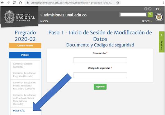 Plataforma inscripciones UNAL 2020-2