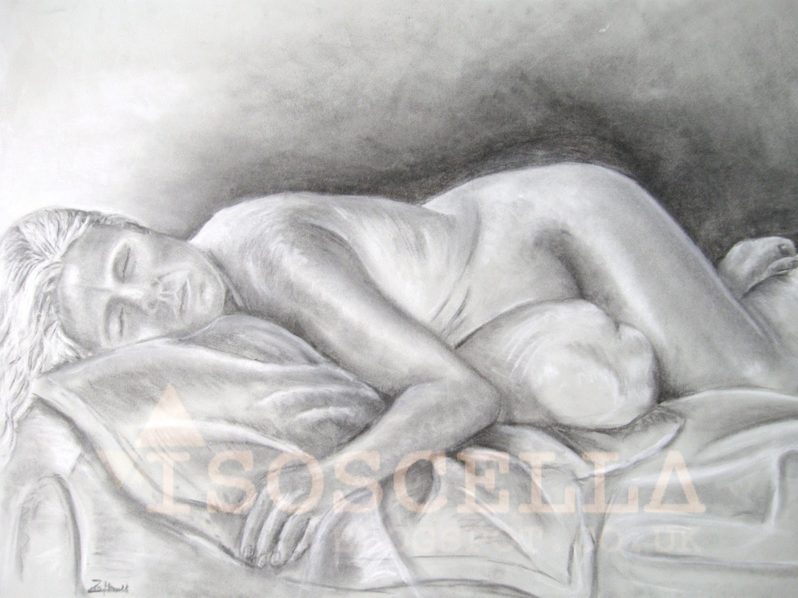 Nude women resting life drawing charcoal chalk