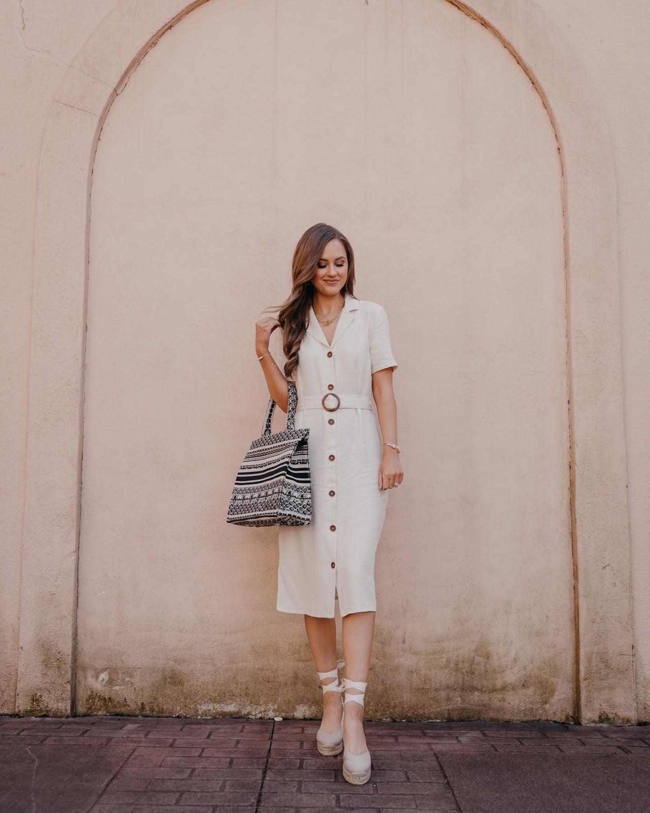 Dior Book Tote Dupe, belted linen midi dress, Castañer espadrilles