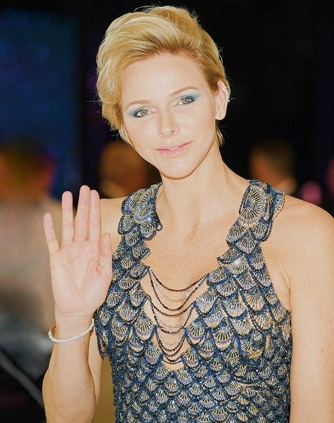 Princess Charlene wore Atelier Versace Fish Scale Sequin v-neck gown at Monte Carlo Sporting Club for Gala of the Red Cross of Monaco