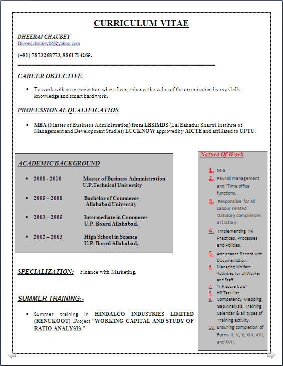 resume blog co  sample of an ideal resume of mba finance  u0026 administration with 3 years experience