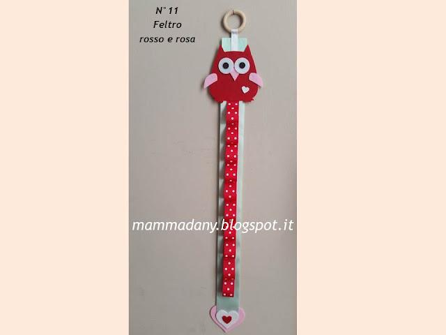 Porta cerchietti gufetto in feltro rosso e rosa con nastro tiffany n°11