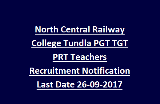 UP Firozabad North Central Railway College Tundla PGT TGT PRT