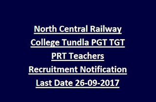 North Central Railway College Tundla PGT TGT PRT Teachers Recruitment Notification Last Date 26-09-2017