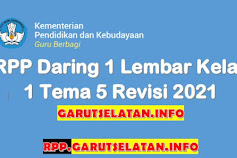 RPP Daring 1 Lembar SD/MI Kelas 1 Tema 5 Revisi 2021