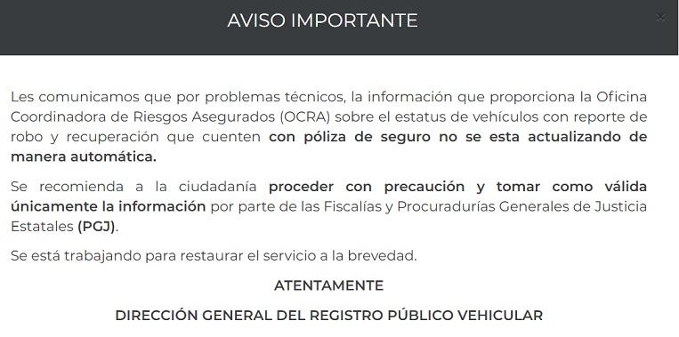 Direccion General del registro Publico vehicular