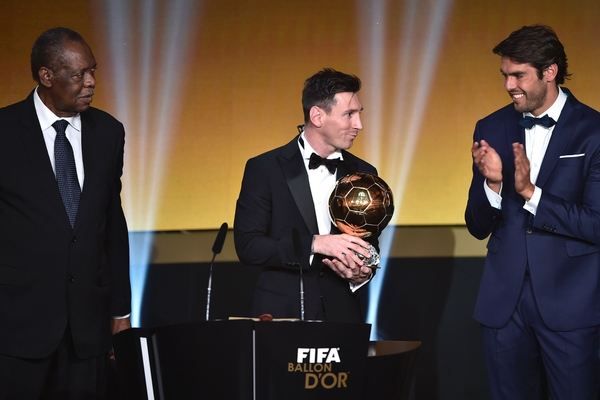 Photos of Lionel Messi Collecting The FIFA BAllon D'Or 2015
