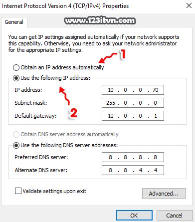 Thay đổi địa chỉ IP trong máy tính