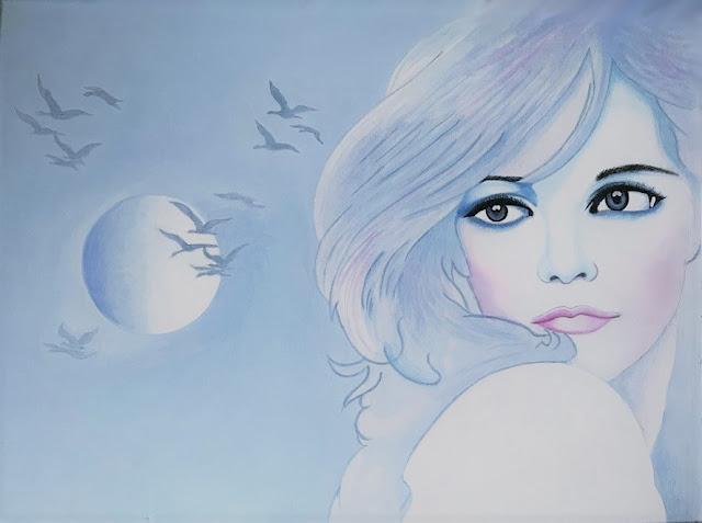 7ba06052bb83a 6 - La rêveuse. Type d œuvre  peinture. Matériaux  Acrylique Support  Toile  Format  50 x 45 cm. Style  Figuratif Année d exécution  Novembre 2018