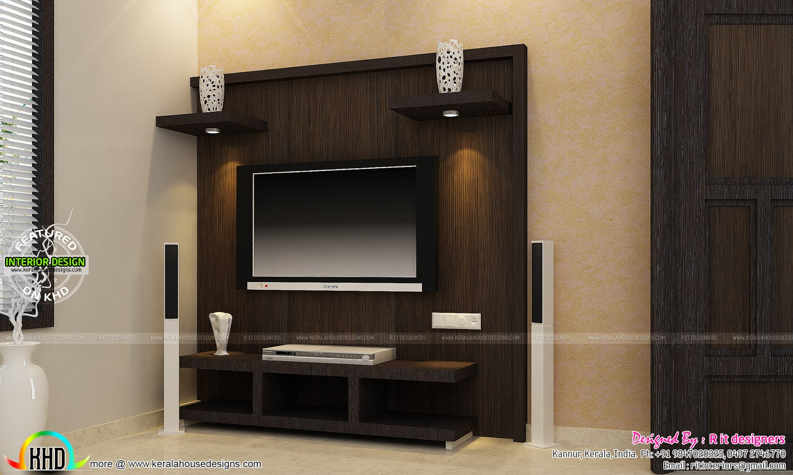 Tv unit furniture dining and bedroom interiors kerala Sample interior design for small house