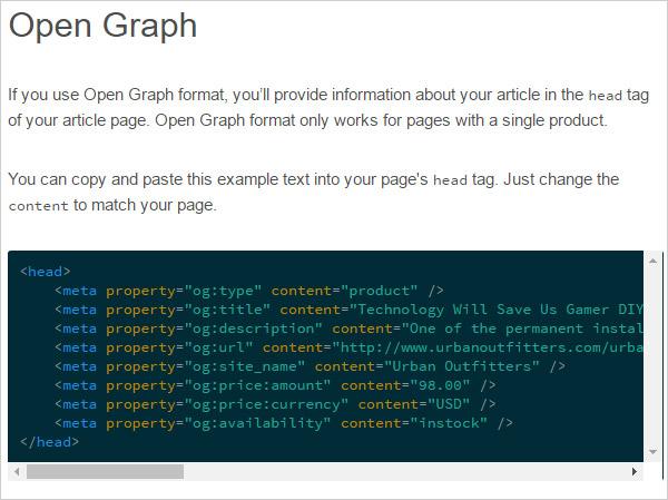 Copy open graph code for rich pinterest pins