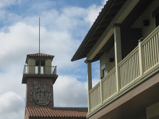 Balcony and tower at the Paso Robles Inn, Paso Robles, California