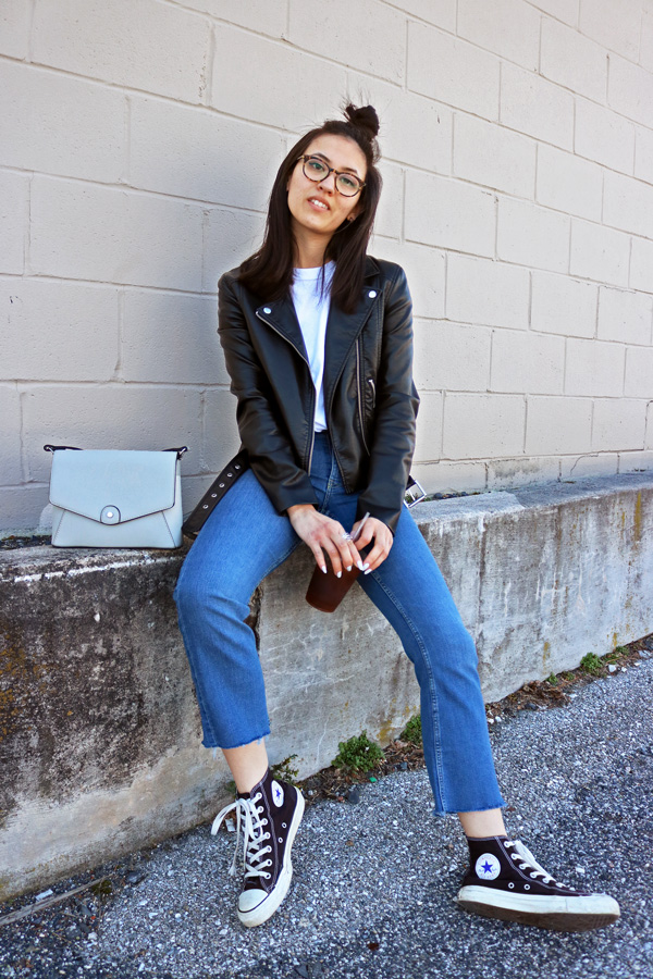 Cropped Flared Jeans, Leather Jacket, Converse Shoes