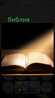 389 фото раскрытая библия под солнечными лучами 13 уровень