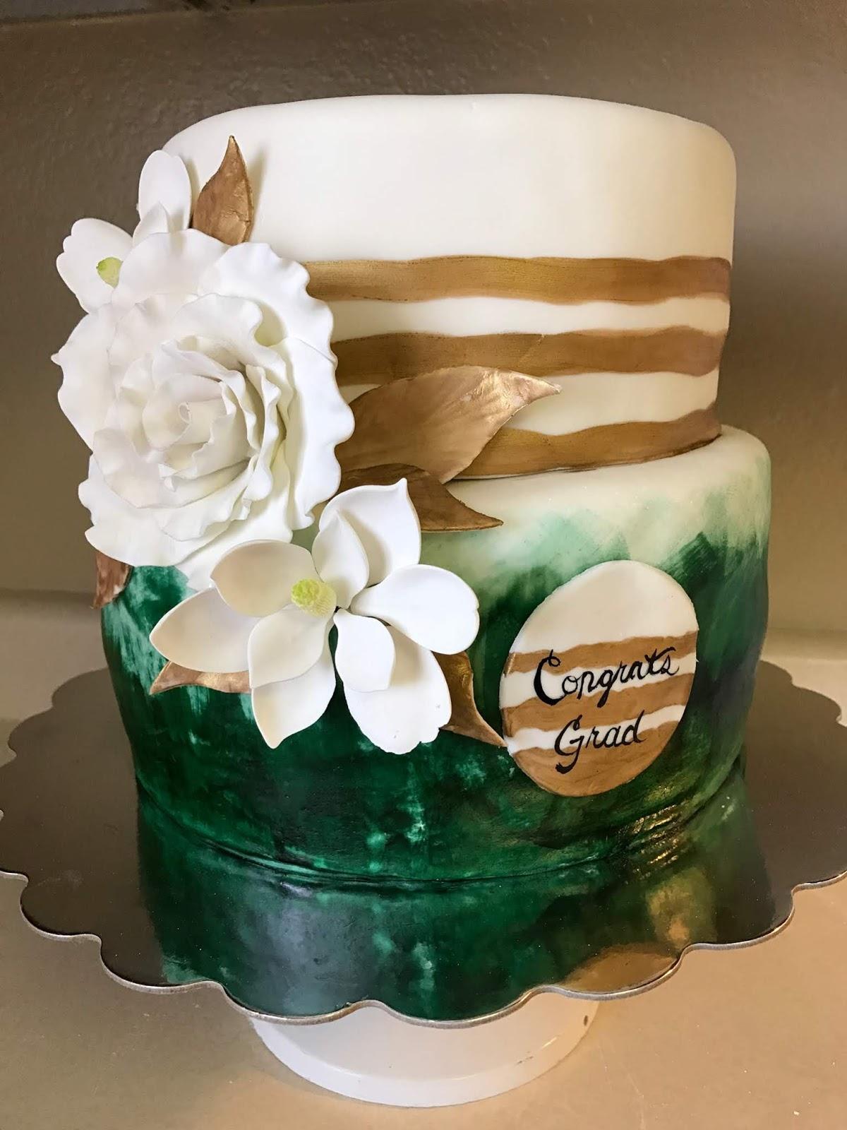 Kelleys Cake Creations And Desserts Graduation Green Gold Cake