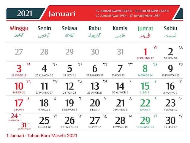 Download Kalender 2021 Gratis Format CDR, PDF, PSD dan PNG Lengkap
