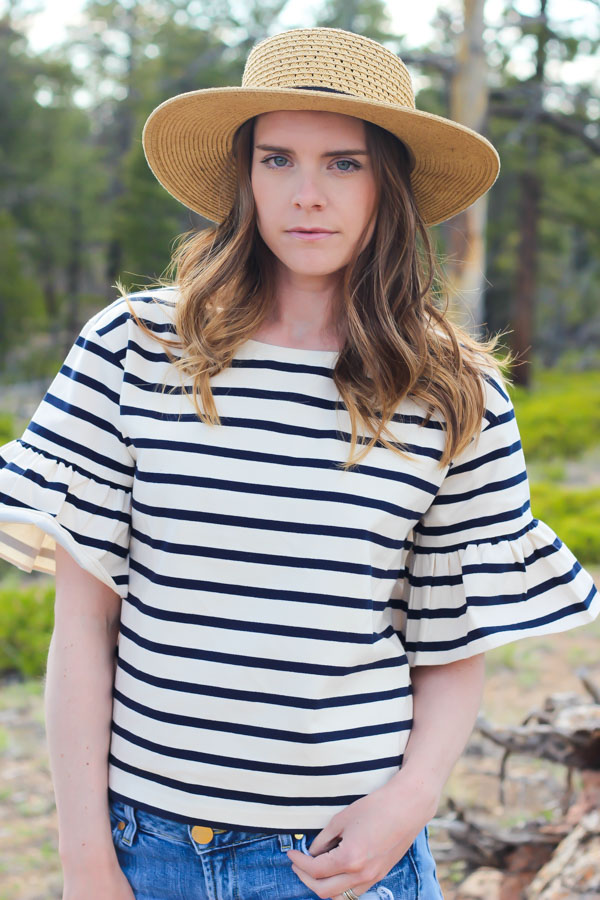 J Crew Striped Ruffle Sleeve Top