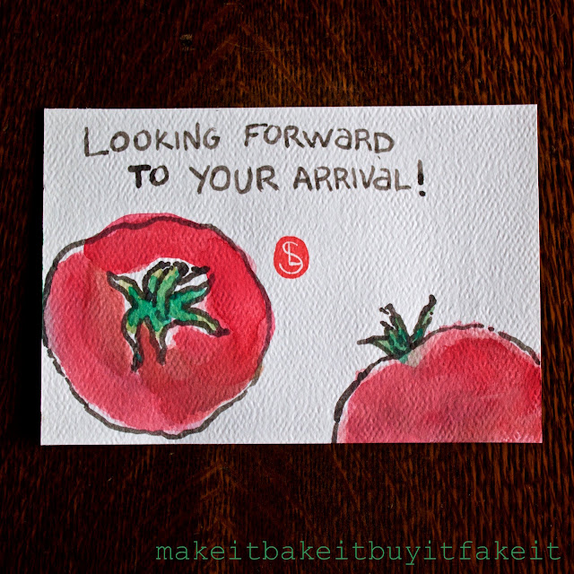 My first Etegami: Tomato Arrival!