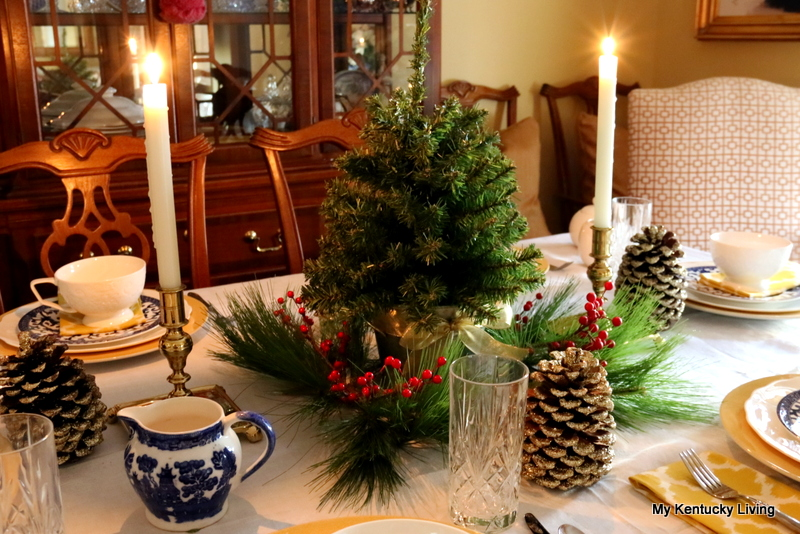 china, dishes, tabletop christmas tree, brass candlesticks