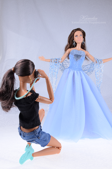 Sky blue embroidered beaded dress for Barbie doll