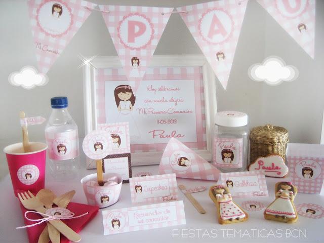 Kit de fiesta comunion niña rosa