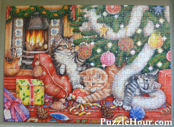 Bad cats and baubles kittens jigsaw puzzle design Debbie Cook artist Gibsons 500 piece