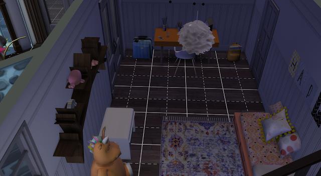 habitación infantil frontal de una casa en los sims 4