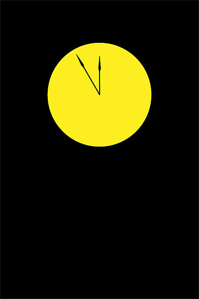 Yellow clock face without numbers, hands set to about 11:55, against black background with no text